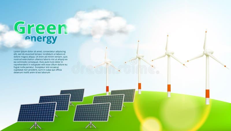 Шаблон энергии панелей солнечных батарей и ветротурбин зеленый иллюстрация штока