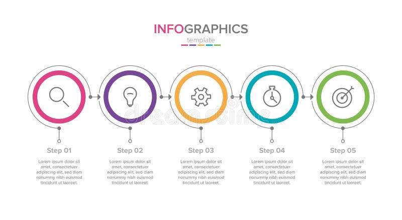 Шаблон ярлыка вектора infographic со значками 5 варианты или шагов Infographics для концепции дела иллюстрация штока