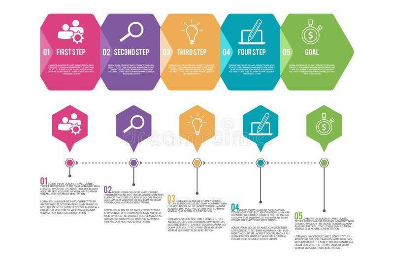 Шаблон ярлыка вектора infographic со значками и 5 вариантами или шагами бесплатная иллюстрация
