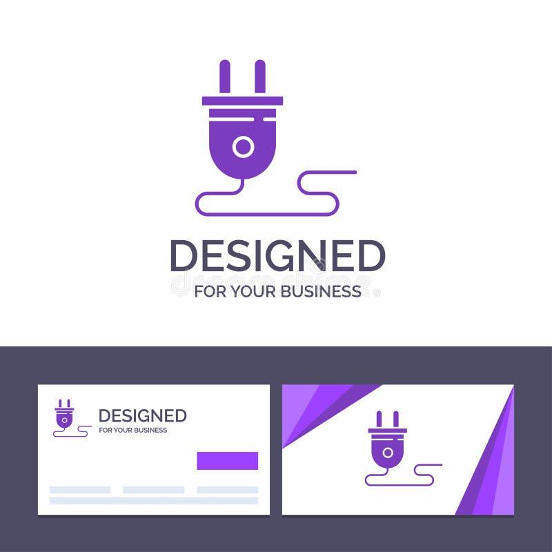 Шаблон Creative Business Card и Logo Electrical, Energy, Plug, Power Supply, Vector Иллюстрация иллюстрация штока