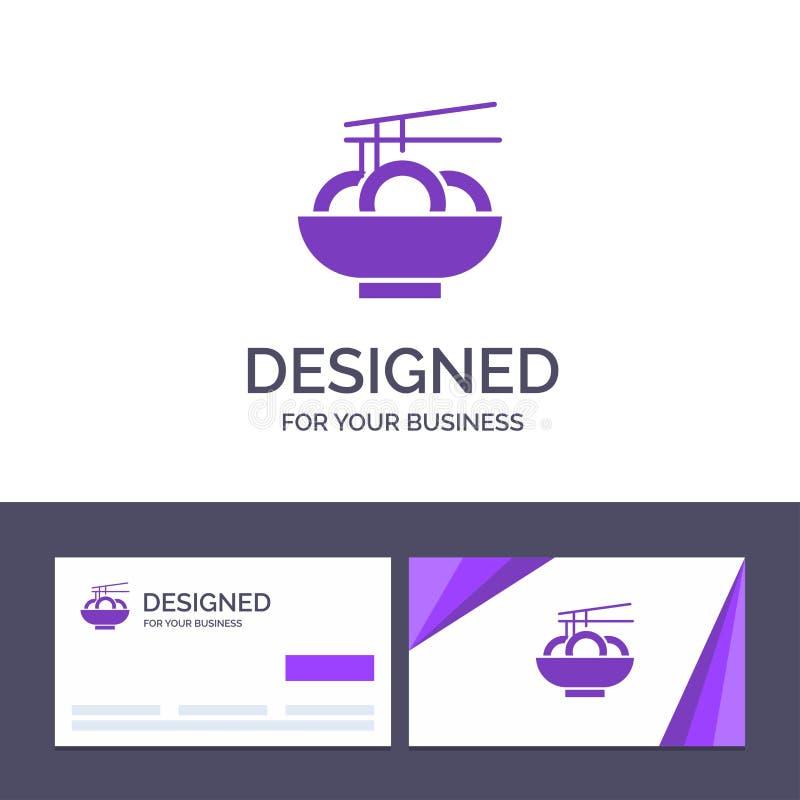Шаблон Creative Business Card и Logo Noodle, Food, China, Chinese Vector Illustrator иллюстрация вектора