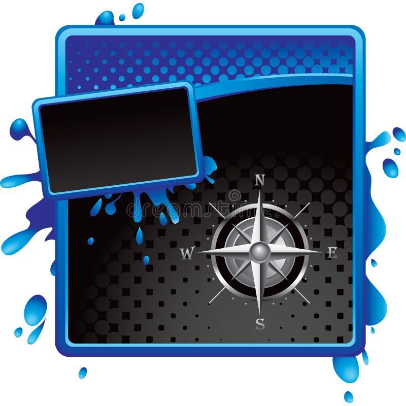 шаблон halftone черного голубого компаса grungy иллюстрация вектора