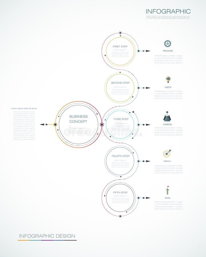 Шаблон Infographic, дизайн круга с стрелками подписывает и 5 варианты или шагов бесплатная иллюстрация