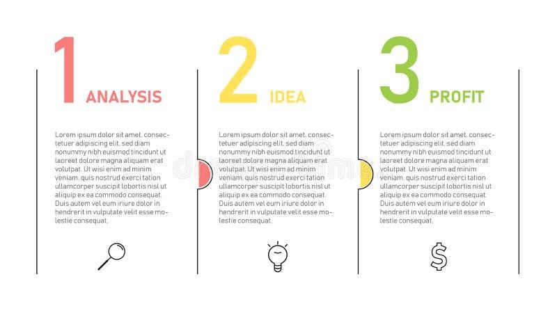 Шаблон Infographic для представления дела Тонкая линия дизайн с 3 варианты или шага бесплатная иллюстрация