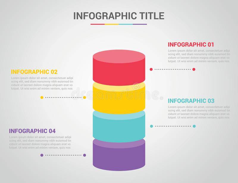 Шаблон Infographic со стилем круга формы формы бара 3d с текстом открытого космоса для описания с 4 текст процесса 4 шагов дальше иллюстрация вектора