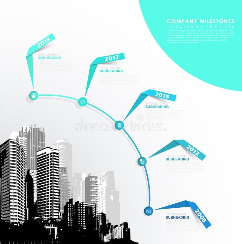 Шаблон Infographic с 5 бумажными нашивками, значками и skyscrap иллюстрация штока