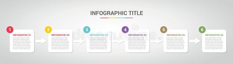 Шаблон Infographic с положенным в коробку стилем коробки для шага или отростчатый срок с различным цветом с 6 шагом - вектор бесплатная иллюстрация