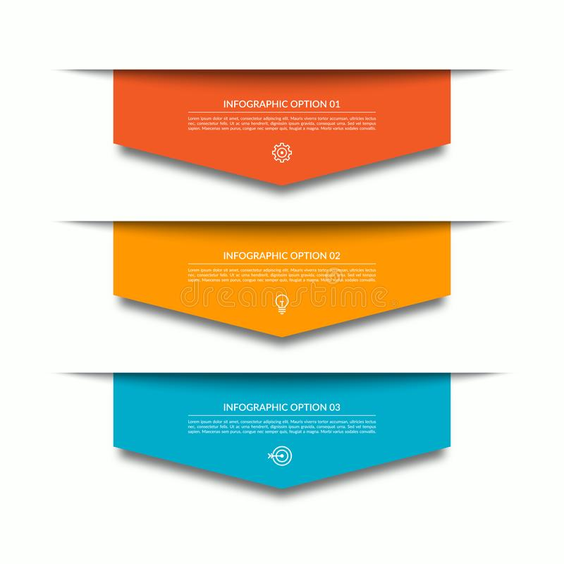 Шаблон Infographic с 3 ухудшающимися красочными бумажными стрелками Смогите быть использовано для диаграммы, диаграммы, веб-дизай иллюстрация вектора