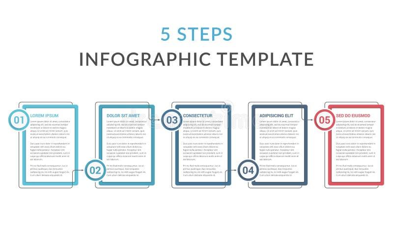 Шаблон Infographic с 5 шагами бесплатная иллюстрация