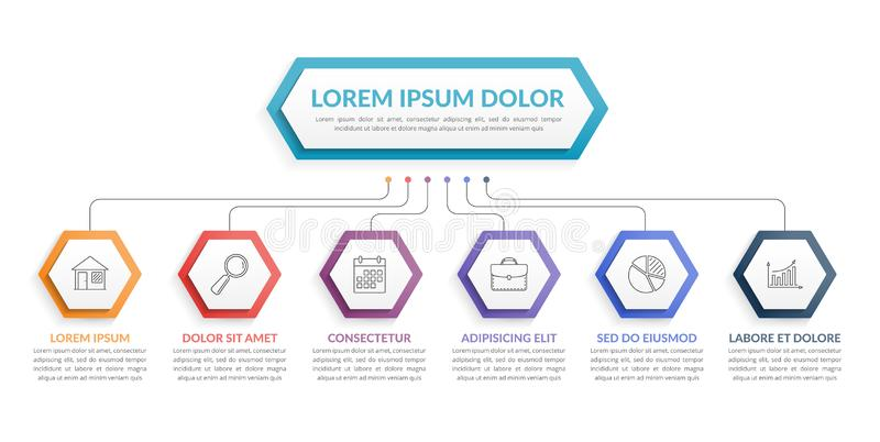 Шаблон Infographic с 6 шагами иллюстрация вектора