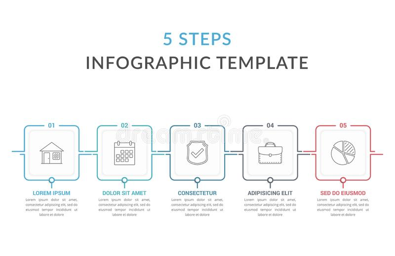 Шаблон Infographic 5 шагов иллюстрация штока