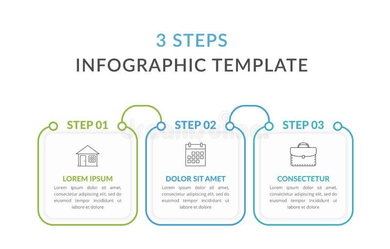 Шаблон Infographic 3 шагов бесплатная иллюстрация