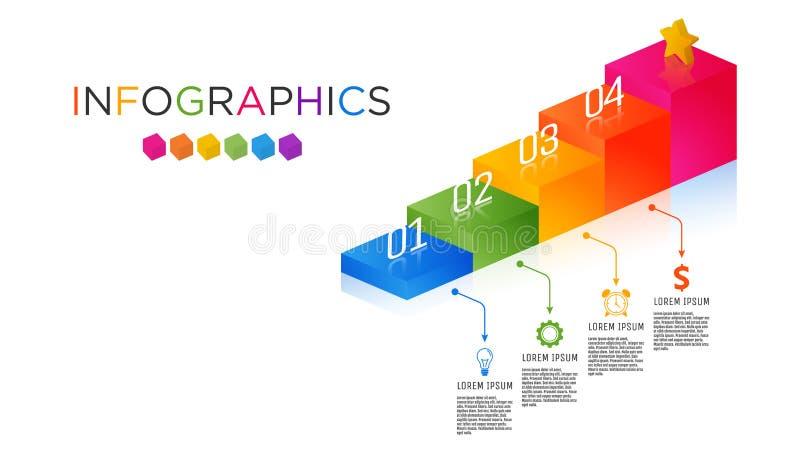 шаблон Infographic ярлыка дела Полно-цвета стоковое изображение rf