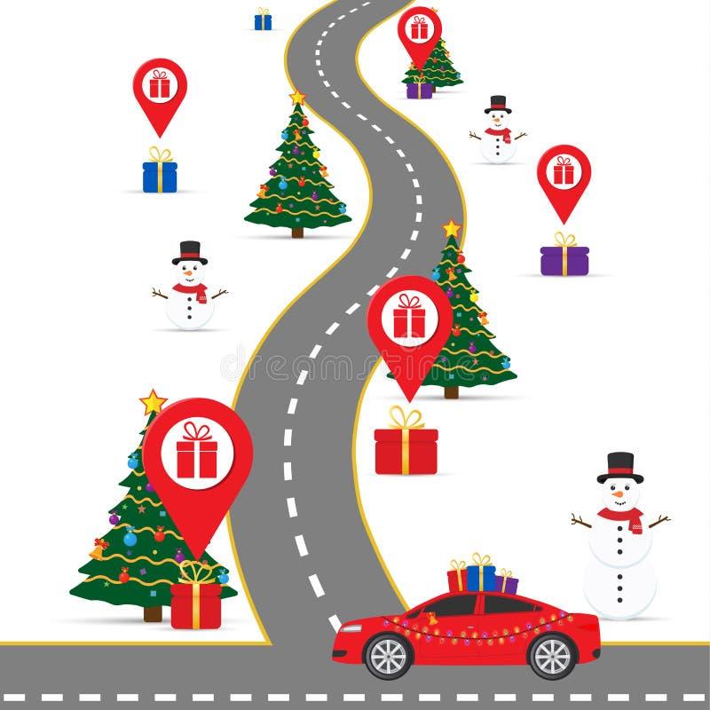 Шаблон infographics рождества с дорогой и навигационными указателями и карта с подарочными коробками иллюстрация вектора