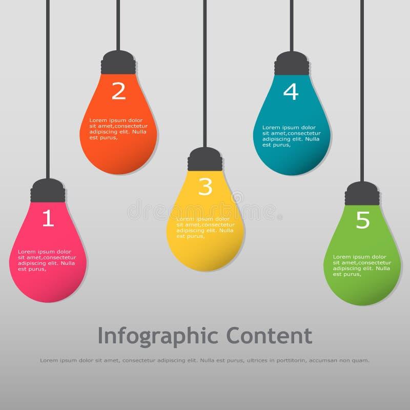 шаблон infographics электрической лампочки Мульти-цвета иллюстрация штока