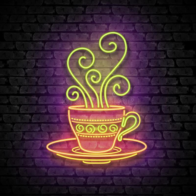 Шаблон Singboard кофейни с чашкой, завихряется горячий пар, и надпись бесплатная иллюстрация