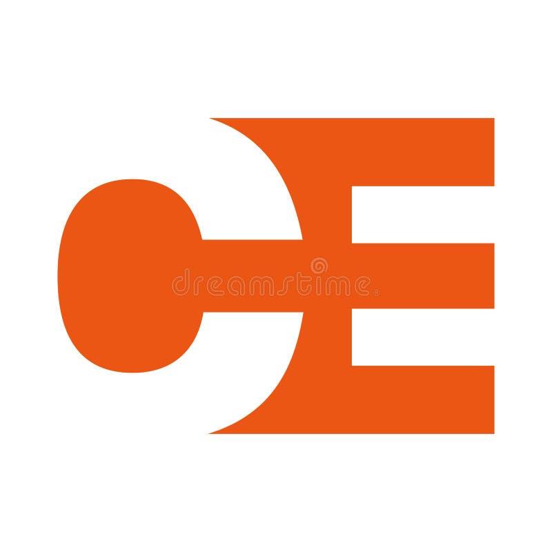Шаблон ve дизайна концепции абстрактного логотипа CE или OE начального письма бесплатная иллюстрация