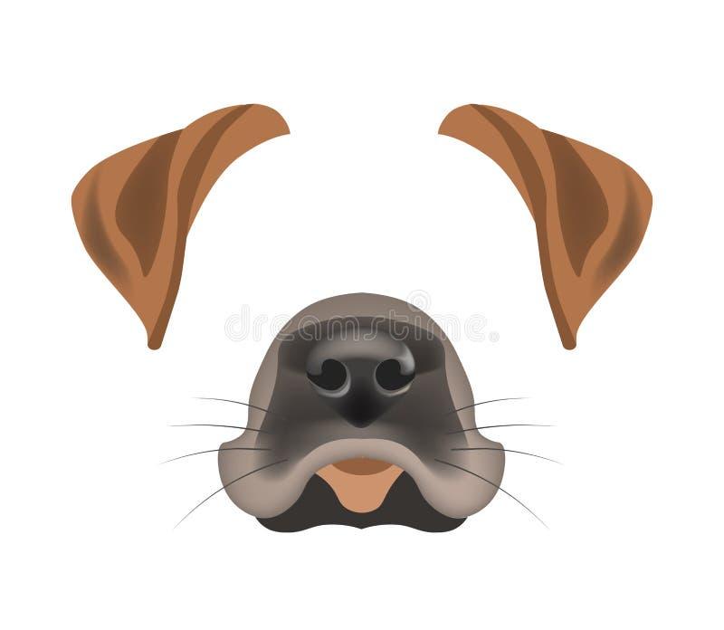 Шаблона фильтра стороны собаки вектор влияния фото болтовни животного видео- изолировал значок бесплатная иллюстрация