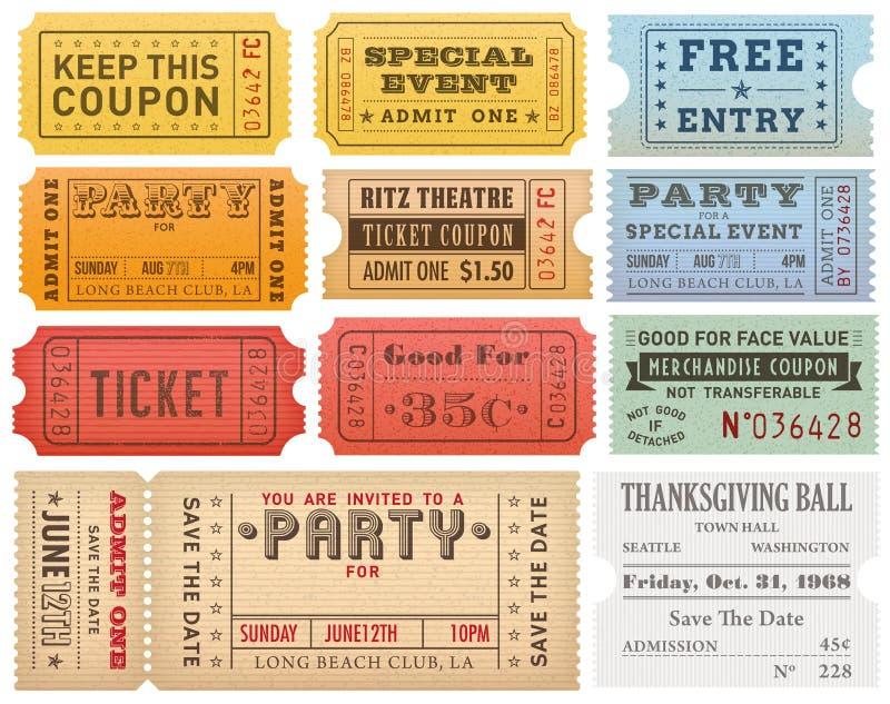 Шаблоны билетов Grunge вектора красочные иллюстрация вектора