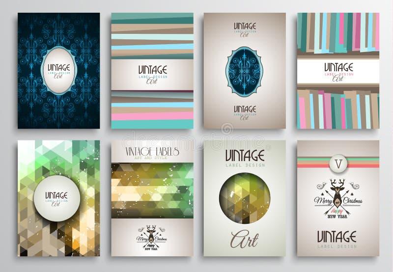 Шаблоны брошюры стилей года сбора винограда установленные с ярлыками иллюстрация штока