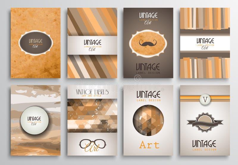 Шаблоны брошюры стилей года сбора винограда установленные с ярлыками бесплатная иллюстрация