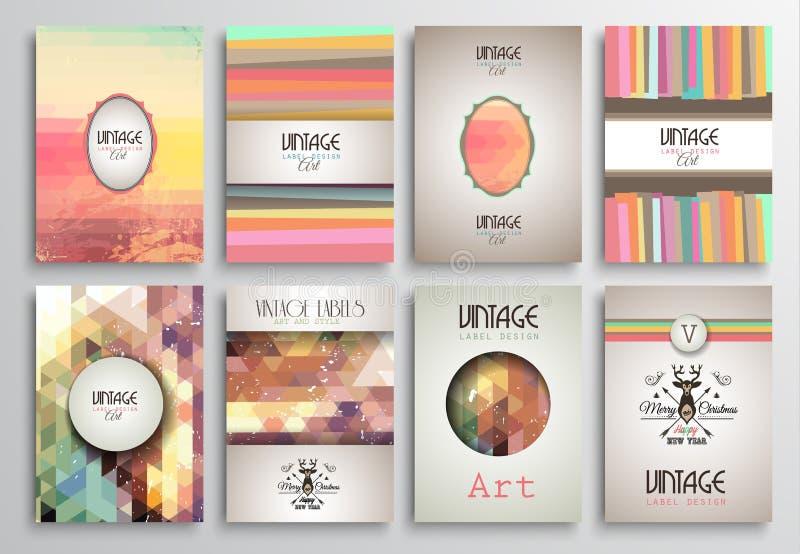 Шаблоны брошюры стилей года сбора винограда установленные с ярлыками иллюстрация вектора
