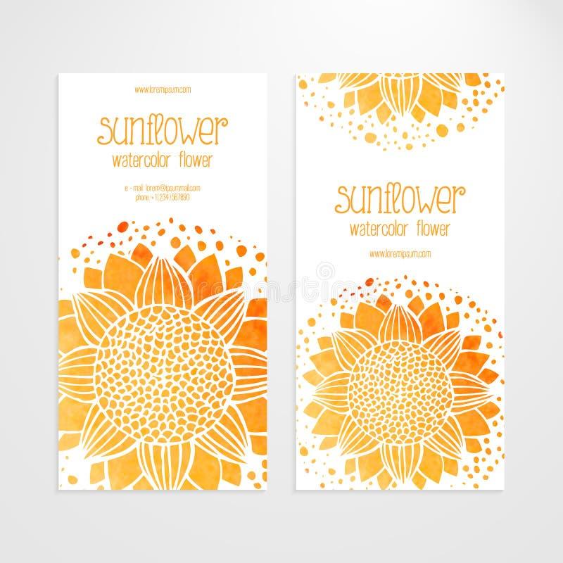 Шаблоны вектора знамен с солнцецветами акварели иллюстрация штока