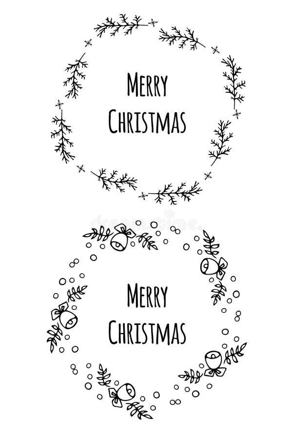 Шаблоны вектора рождественской открытки установленные Объекты на предпосылке стоковое изображение rf