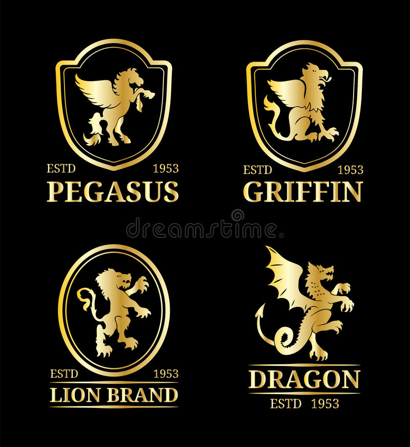 Шаблоны вензелей гребня вектора Роскошный Пегас, дракон, лев, дизайн грифона Грациозно иллюстрация силуэтов животных бесплатная иллюстрация