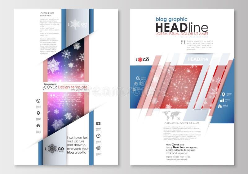 Шаблоны дела блога графические Шаблон дизайна вебсайта страницы, легкий editable, абстрактный плоский план рождество украшает иде иллюстрация вектора