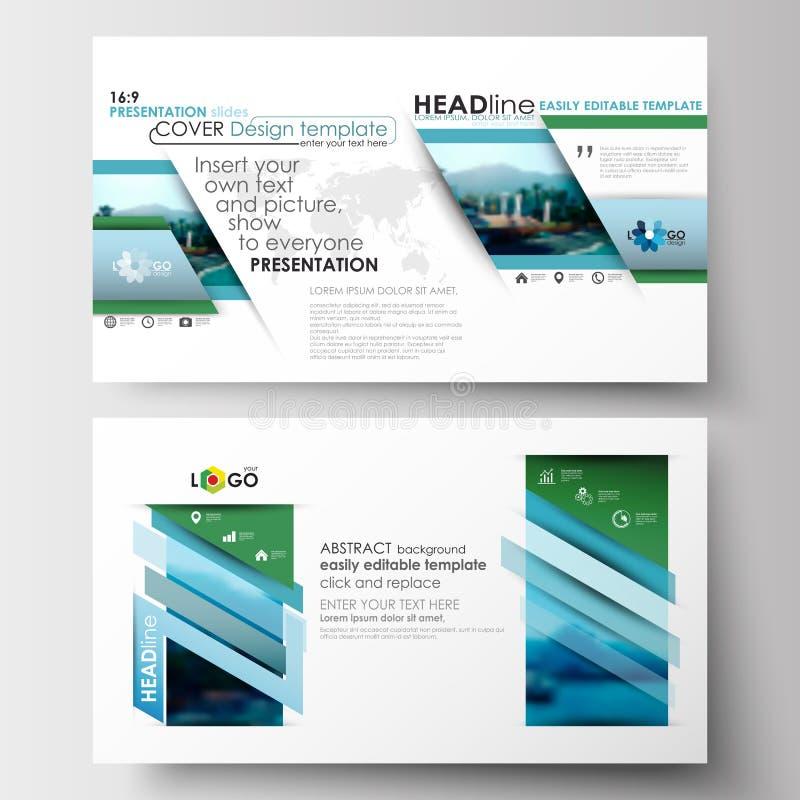 Шаблоны дела в формате HD для представления сползают План украшения перемещения цвета плоского дизайна голубой, легкое editable иллюстрация вектора
