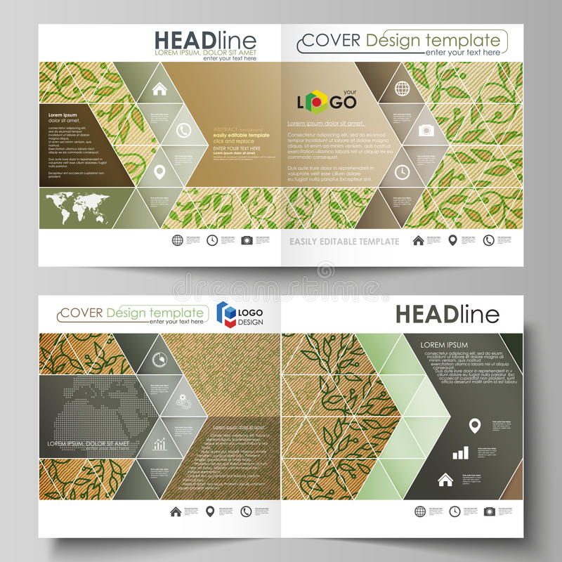 Шаблоны дела для квадратного bi складывают брошюру, рогульку, буклет, отчет Крышка листовки, план вектора абстрактный зеленый цве иллюстрация штока
