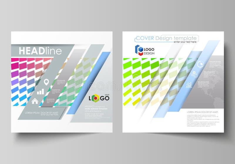 Шаблоны дела для квадратной брошюры дизайна, кассеты, рогульки, годового отчета Крышка листовки, план вектора цветасто бесплатная иллюстрация