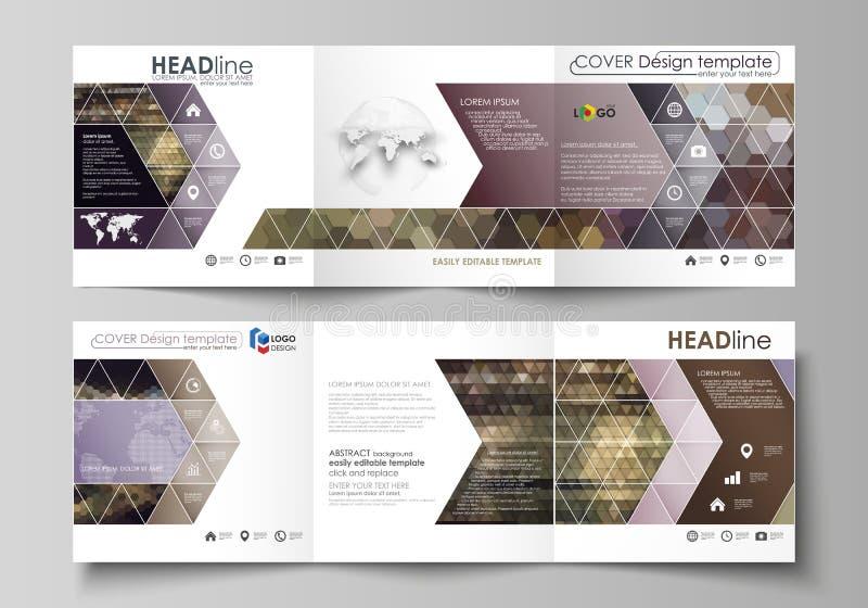 Шаблоны дела для trifold квадратных брошюр дизайна Крышка листовки, план вектора Абстрактные пестротканые предпосылки бесплатная иллюстрация