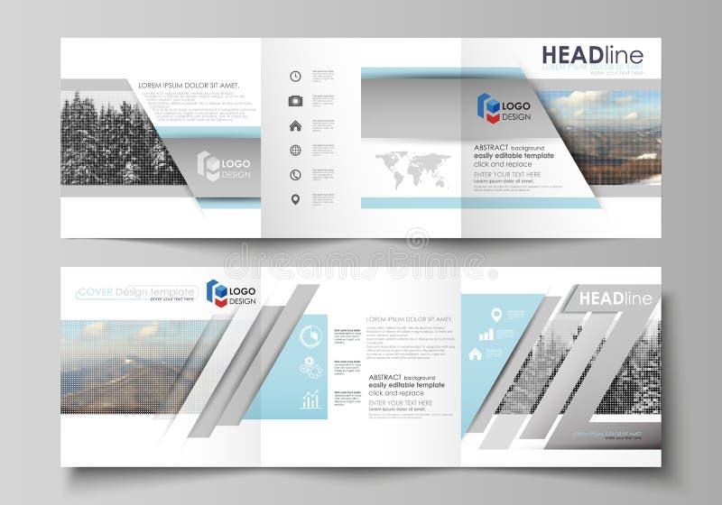 Шаблоны дела для trifold квадратных брошюр дизайна Крышка листовки, плоский план, легкий editable вектор Аннотация иллюстрация штока
