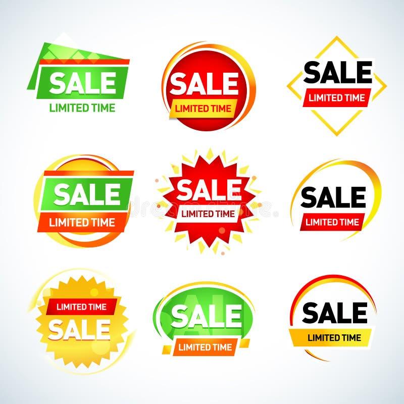 Шаблоны знамени ограниченного времени продажи установили, бирки продажи, знаки, стикеры изолированная иллюстрация руки кнопки наж иллюстрация вектора