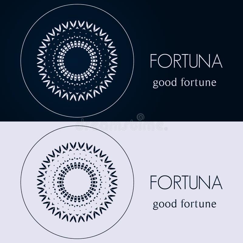 Шаблоны дизайна в голубых и серых цветах Творческий логотип мандалы, значок, эмблема, символ стоковое изображение