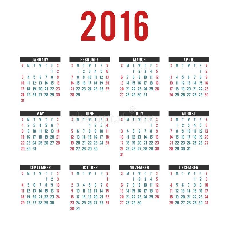 Шаблоны календаря вектора 2016 иллюстрация вектора