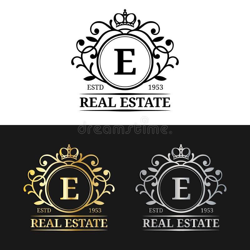 Шаблоны логотипа вензеля недвижимости вектора Роскошный дизайн писем Грациозно винтажные характеры с символами кроны бесплатная иллюстрация