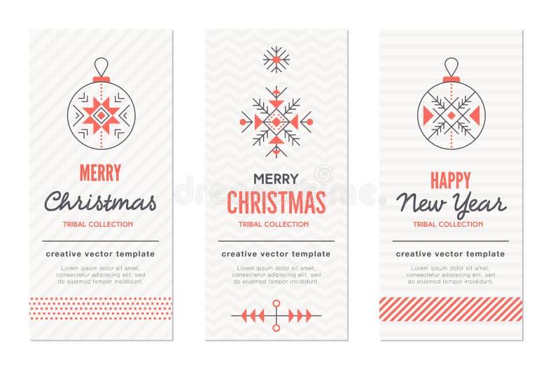 Шаблоны поздравительной открытки Нового Года и рождества с праздником подписывают иллюстрация вектора