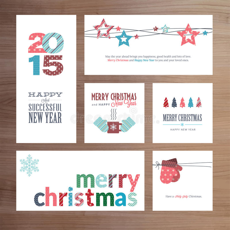 Шаблоны поздравительной открытки плоский рождества и Нового Года дизайна бесплатная иллюстрация