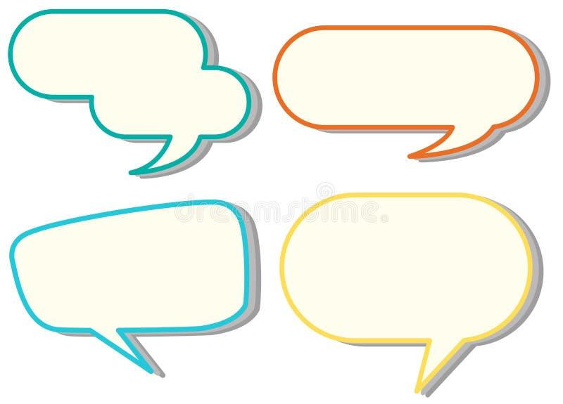 Шаблоны пузыря речи в 4 цветах бесплатная иллюстрация