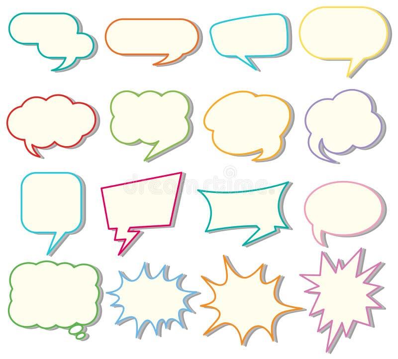 Шаблоны пузыря речи на белой предпосылке бесплатная иллюстрация