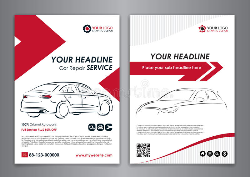 A5, шаблоны плана дела автомобиля обслуживания A4 Шаблоны брошюры ремонта автомобилей, обложка журнала автомобиля иллюстрация вектора