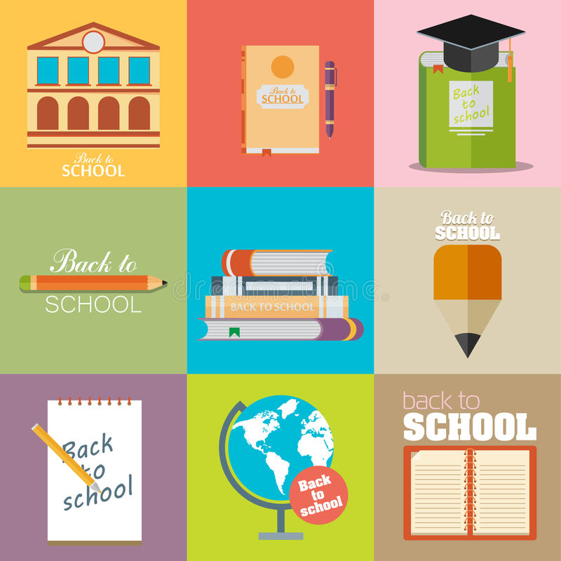 Шаблоны рогулек дизайна современной школы плоские иллюстрация штока