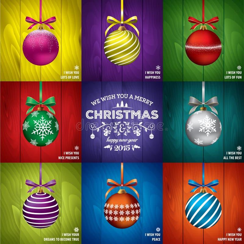 Шаблоны рождественской открытки иллюстрация вектора