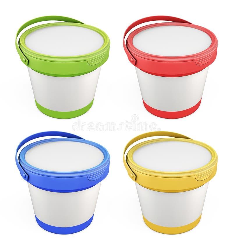 Шаблоны для замазки buckets с цветами сортированными крышками иллюстрация вектора
