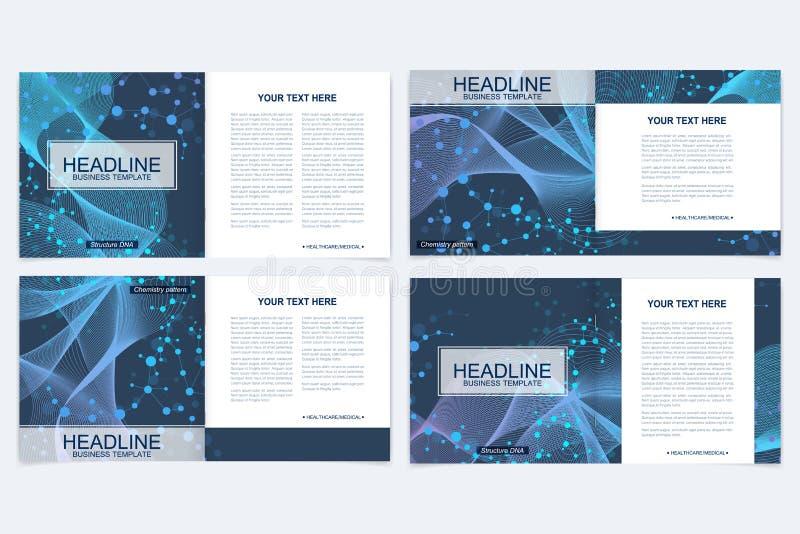 Шаблоны для квадратной брошюры Представление крышки листовки Дело, наука, план книги дизайна технологии научно иллюстрация вектора