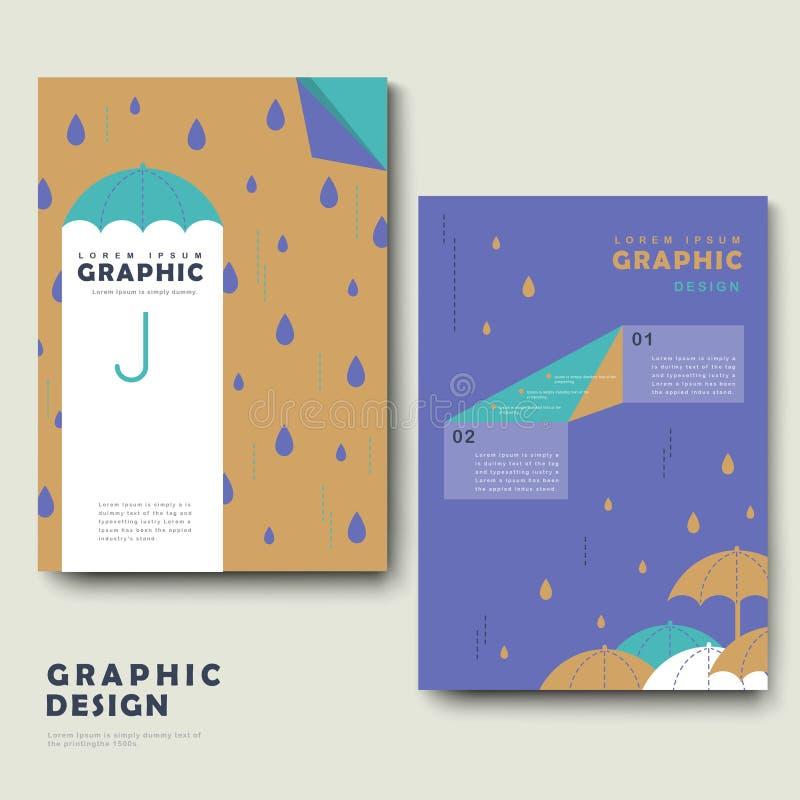 Шаблон брошюры дождливого дня иллюстрация вектора