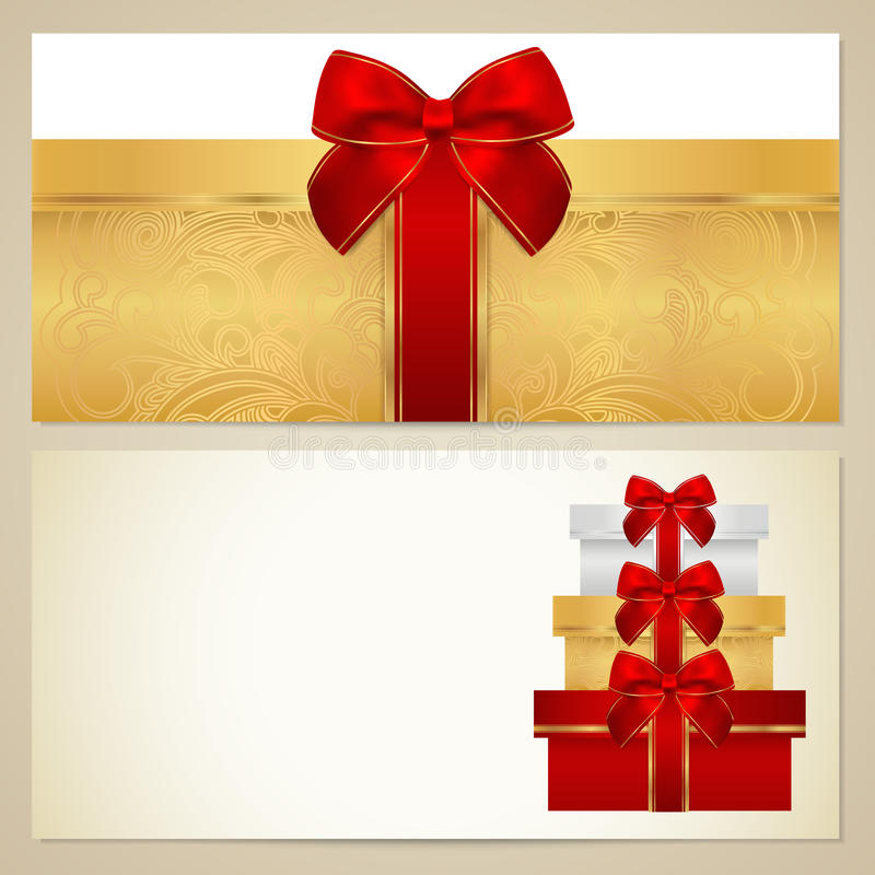 Шаблон ваучера (подарочного купона, талона). Коробки иллюстрация вектора